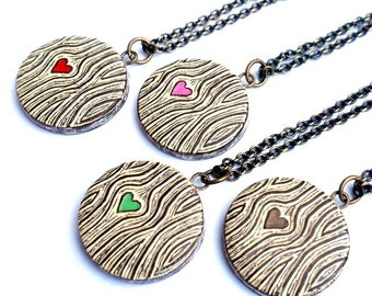 Woodgrain Heart Necklace, Faux Bois Necklace, Wood Grain Jewelry, Heart Jewelry, Wood Anniversary Gift, Bridesmaid Gift, Woodland Wedding