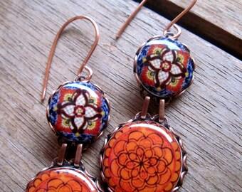 Colorful Earrings, Mexican Jewelry, Native earrings, Folk art ceramic tile pattern, Persimmon, Coral, Orange earrings, Mexican wedding