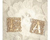 RENAISSANCE Monogram Letters - Vintage Brass Filigree Stampings - CHARMS