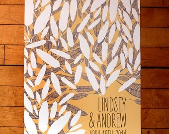 Personalized Wedding Guest Book Poster-Yellow and Gray Feathers
