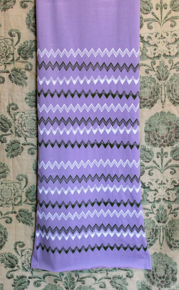 CLEARANCE-Screen Printed Jersey Scarf-Lavender with Green and White Chevron