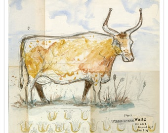 French Countryside Longhorn Shabby Chic Print