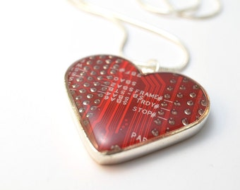 Circuit Board Heart Necklace Red Valentine Recycled Circuit Board Geek Jewelry