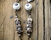 No Whammies Glass Evil Eye Brass Claw Tooth Floral Deco Collage Earrings, ward off evil, good luck, fortune, protection, amulet