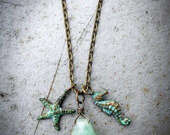 Castaway Necklace - Light Green Gemstone, Green Patina Starfish, and Green Patina Sea Horse