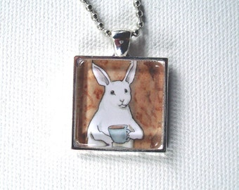 Bunny with a Cup of Coffee - Square Pendant - Unique Rabbit Necklace