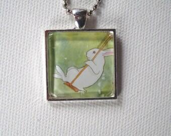Bunny on a Swing - Square Pendant - Unique Rabbit Necklace