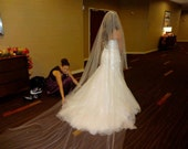 Wedding Veil Swarovski Crystal Rhinestone Sheer Cathedral Length Bridal Veil with Blusher
