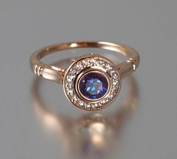 The Secret Delight 14k Rose Gold Alexandrite Engagement Ring