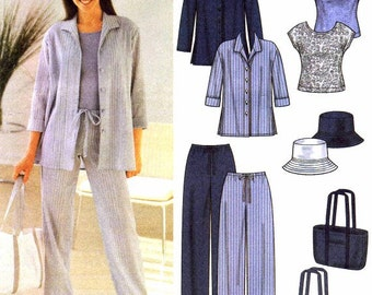 Womens Pants Shirt Knit Top Hat Tote Bag Sewing Pattern Simplicity 7182 Misses Size 8 - 10 - 12 - 14 Bust 31 1/2 - 32 1/2 - 34 - 36 UNCUT