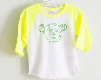 SALE | Neon Yellow-Green Raglan Sleepy Creature Tee - KIDS  and BABY Sizes