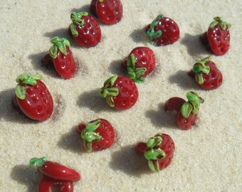 Lampwork Strawberry Buttons 13, Juicy Red Shank Style Artisan Handmade SRA LETEAM Glassymom
