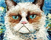 Cat meets Starry Night print on stretched canvas of original oil painting 16x20 inches Vincent van NO