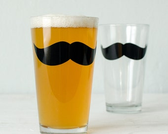 Moustache Glassware PINT screen printed barware