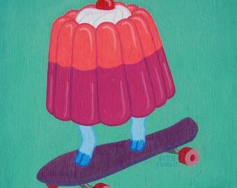 Little Kid - Skateboarding Gelatin - Original Painting on Wood