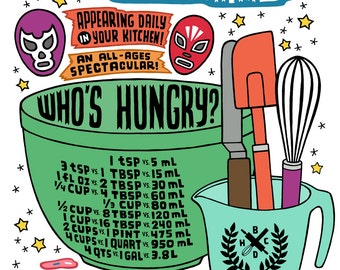 Kitchen Measurements with Utensils and Luchadores