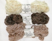 Seam Binding - Crinkle Shabby Ribbon - Neutral Four - Brown - Tan - Ecru - 18 yds. - Vintage Style Ribbon