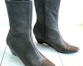 sz 10 Gino Nicci suede & leather wedge boots