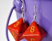 Dice Earrings - D8 Eight Sided Orange Speckled Geeky Jewelry