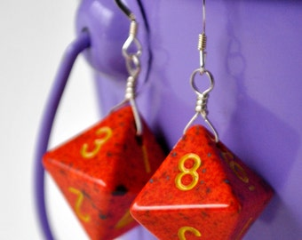 Dice Earrings - D8 Eight Sided Orange Speckled Geeky Jewelry