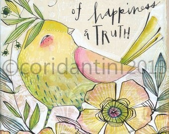 whimsical watercolor painting of a bird- 8 x 10 - archival and limited edition print by cori dantini