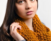 Knit Cowl Scarf Snood - Mobius Cowl in Mustard Yellow - Yellow Cowl Yellow Scarf Mustard Cowl Mustard Scarf Womens Accessories