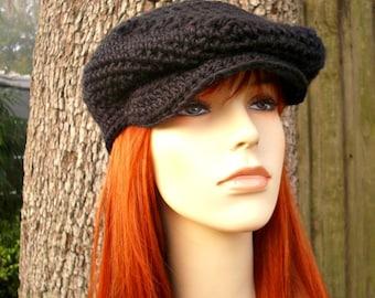 Crochet Hat Black Womens Hat Black Mens Hat Black Newsboy Hat - Ivy League Cap in Black Crochet Hat - Black Hat Womens Accessories