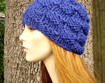 Knit Hat Blue Mens Hat Blue Womens Hat - Basket Weave Beanie in Cobalt Blue Knit Hat - Blue Hat Blue Beanie Womens Accessories Winter Hat