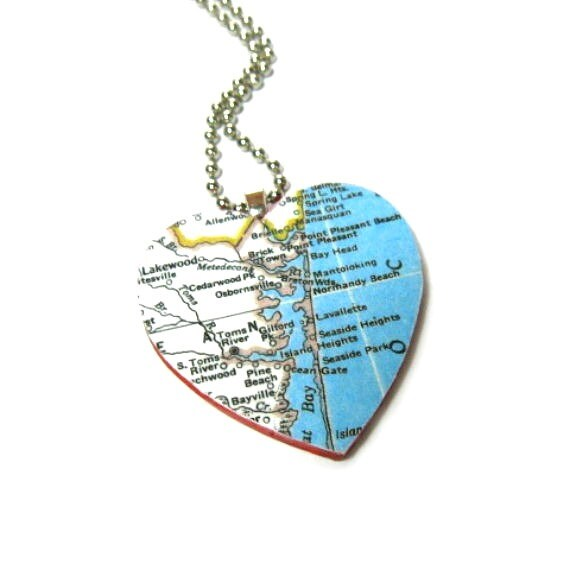 I Love Jersey Shore Necklace Map Jewelry I Heart New Jersey Pendant