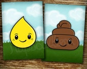 Pee and Poo Art Print Set of Two- 5x7