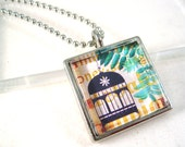 Bird Cage Necklace, Glass Pendant, Ball Chain, Cage Jewelry, Bird Cage, Collage Image, Picture Pendant, Glass Tile, Jewelry Gift