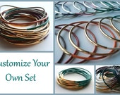 Set of 9 Leather Bangle Bracelets - Leather Bangles - Custom Leather Bracelet - Boho Bracelet - Wrap Bracelet - Boho stackable bracelet