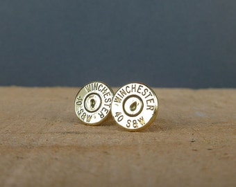 40 caliber Winchester Remington bullet earrings | sterling silver studs | gift for him or her | bullet studs