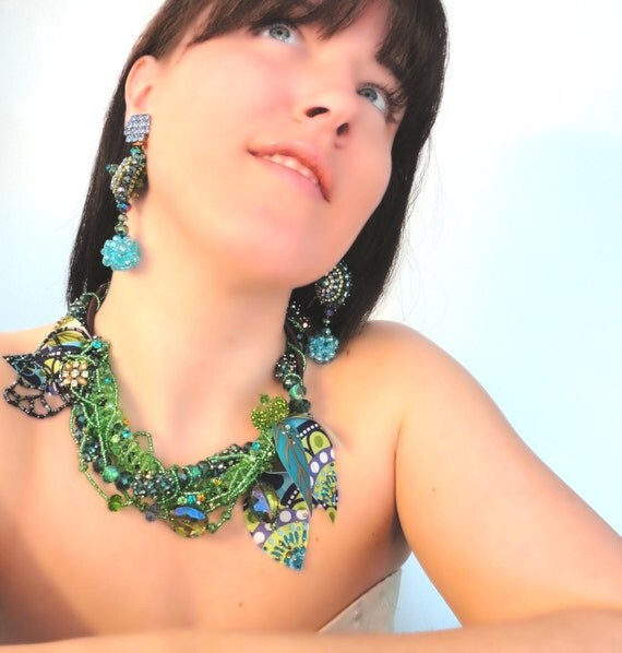 Green Crystal Bridal Necklace, High Fashion Statement Necklace