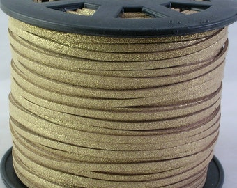 Faux Suede Cord Metallic Shimmer Gold 15 feet (C18)  for Crafts Jewelry Bracelets Necklace Stringing Boho Jewelry Making Supplies
