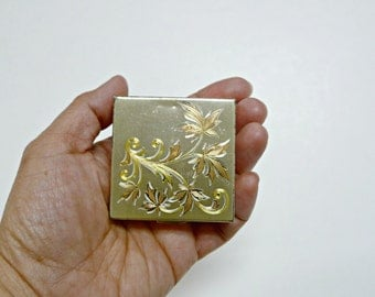 vintage tricolor golden compact with mirror