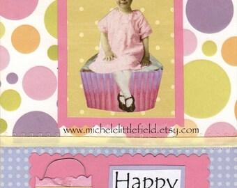 Sweet Happy Birthday Cupcake Greeting CArd ON SALE