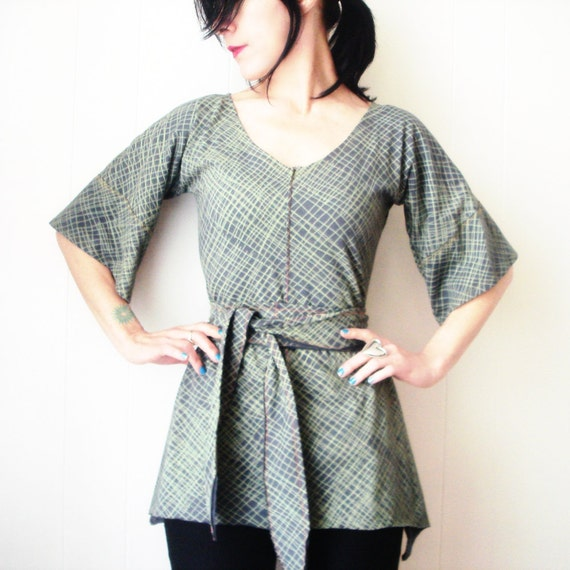 The Consort  - iheartfink Handmade Hand Printed Womens Artistic Bell Sleeve Tunic Top
