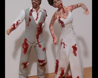 Custom Zombie Wedding Cake Toppers Figure set - Personalized to Look Like Bride Groom from your Photos