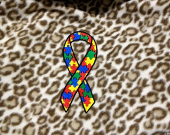 """Autism Awareness Blanket Embroidery  50"""" x 60"""" Fleece Throw Puzzle Pieces  MADE TO ORDER"""