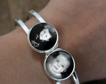 Photo Bracelet - Customized Bracelet with 2 Personalized Photographs - Great for Mothers Day, Valentines Day, Mom of Twins, Kid Photo