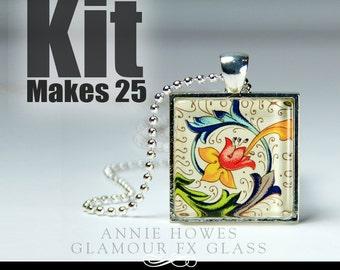 1 Inch Clear Square Glass Pendant Kit with Pendant Trays, Glamour Seal, and 25 Silver Plated Ball Chains. Makes 25.