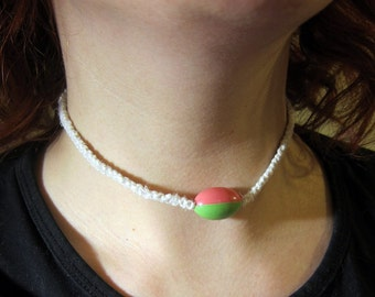 "White Hemp Necklace with Two-Tone Bead """"SALE"""""