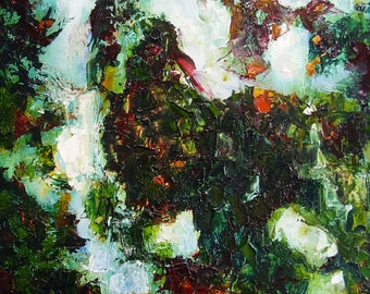 Original painting, abstract landscape, green orange white, winter forest mood, 16 x 12 inches