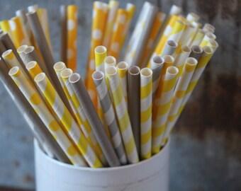 Gray and Yellow Paper Straws, Grey Stripe, Drinking Straws,Grey dot, grey chevron,party straws, yellow stripe, yellow dot, yellow chevron