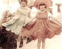 vintage photo Sweet Peas Flower Fairy Girls Greeting Card