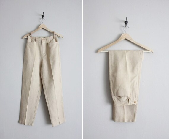 high waisted pants / vintage 80s trousers / slim women's pants