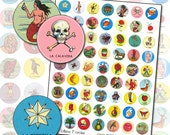 Mexican Loteria 1 inch circle digital collage sheet for buttons badges pinbacks 25 mm round