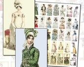 Regency Jane Austen era fashion domino Digital College Sheet 1x2 inches 25mm x 50mm 1x2