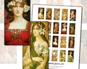 "Elizabeth Sonrel 1x2"" domino digital collage sheet  25x50mm 25mm x 50mm fine art paintings of beautiful women"